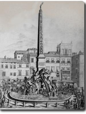 Litografia della fontana dei fiumi